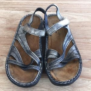 NAOT Paris Metallic Pewter Strappy Wedge Sandal 38